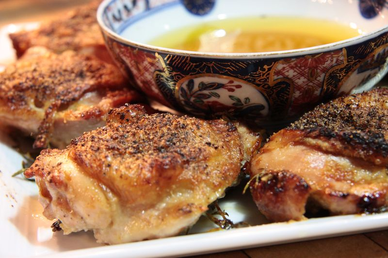Roasted chicken thighs with aioli and herbs 2