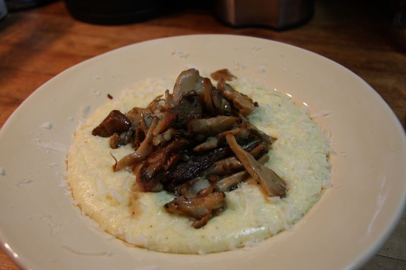Maitake,chanterelle over polenta 5
